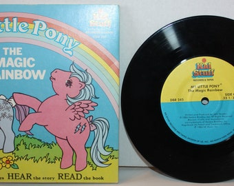 My Little Pony The Magic Rainbow See Hear Read Book and Record Hasbro 1985