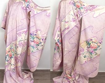 """Japanese K021102 Elegant """"Okedashi-Sibori And Kyoyuzen"""" Furisode Kimono Vintage"""