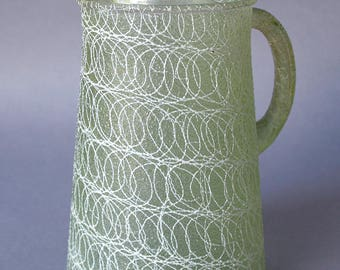 Pitcher - Mid-century spaghetti string pattern, Shat-R-Pruf by Color Craft