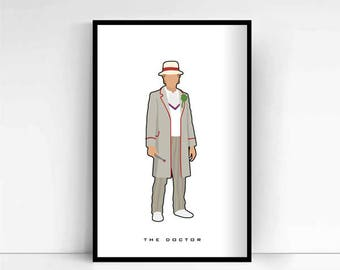 Dr Who - The Doctor #5 'Minimalist' A4 Print