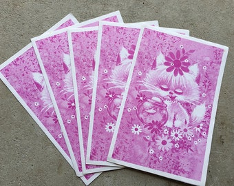 Vintage | Blank Cards | Notelets | Purple Kitten