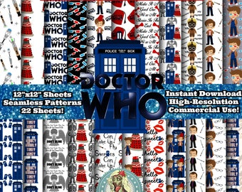 DOCTOR WHO Digital Paper Pack, Dr Who, Dr Who Clipart, Doctor Who Clip Art, Digital Paper Commercial Use, Scrapbook Paper, Instant Download