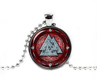 Valknut Necklace Odins Knot Necklace Three Triangles Pendant Vikings Necklace