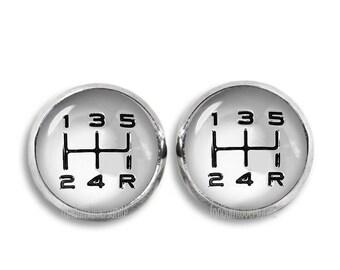 Car Gear Shift Stud Earrings Shift Knob Stud Earrings 12mm Manual Gear Shift Car Drive Earrings