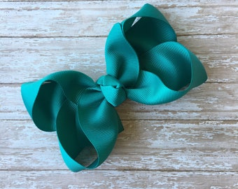 Jade Boutique hair bow, hair bows, solid color hair bows, large hair bows, Thanksgiving hair bows, christmas hair bows, boutique bows,