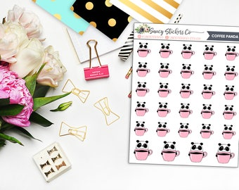Coffee Lover Panda Planner Stickers   for use with Erin Condren Lifeplanner™, Filofax, Personal, A5, Happy Planner