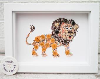 Lion Button Art, Lion Wall Art, Lion, New Baby Gift, Nursery Decor, Safari Animal, Button Art, Baby Shower Gift, Lion Decor, Lion Art, Cat
