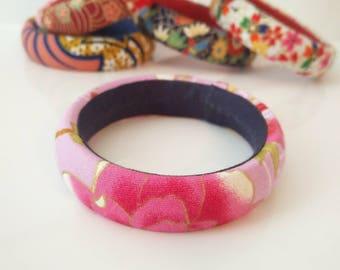 1 pink and purple Japanese fabric cuff bracelet