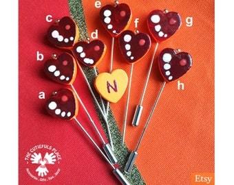 Heart Long Counting Marking Pin, Hat Pin, Hijab Pin, Shawl Scarf Lapel Pin   Hand painted, Customize   Fancy Pincushion Sewing Quilter Gift