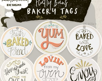 """Food Label Hang Tag, Baked Goods Tags, Custom Baking Tags, Gift for Bakers, Cupcake, 6 Tags, 2.5"""" x 2.5"""" Instant Download Printable"""