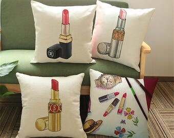 Vintage YSL and Chanel lipstick inspired pillow