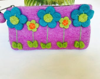 Flower zipped large pencil/ makeup/ money/coin purse. Gift accessories .