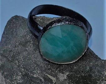 Rhinestone ring Amazonite faceted with cobalt measure 17 U.S.9 birthday commitment of women jewelry