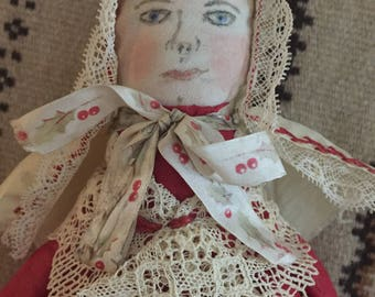 Vintage Handmade Whisk Broom Doll - Folk Art Cloth Doll - Art Doll - Valentines Day - Valentine Gift
