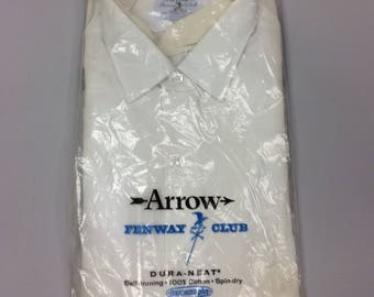60's Men's White Button Up Shirt with Long Sleeves Arrow Fenway Club Dura-Neat | Size 16 1/2 x 33  | Deadstock | New in Package