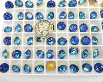 Swarovski 1200 Bermuda Blue GF 40ss Rare Vintage Dentelle Rhinestones (6 pieces)