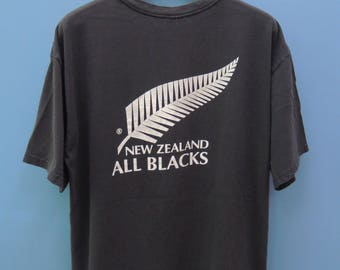 Vintage Adidas New Zealand All Black Rugby Shirt Big Logo Sport Jersey Size L