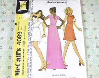 Woman's Dress Sewing Pattern, Size 16, Uncut and Complete, With Instructions, McCall's 4089, Carefree Step by Step, Vintage from 1974