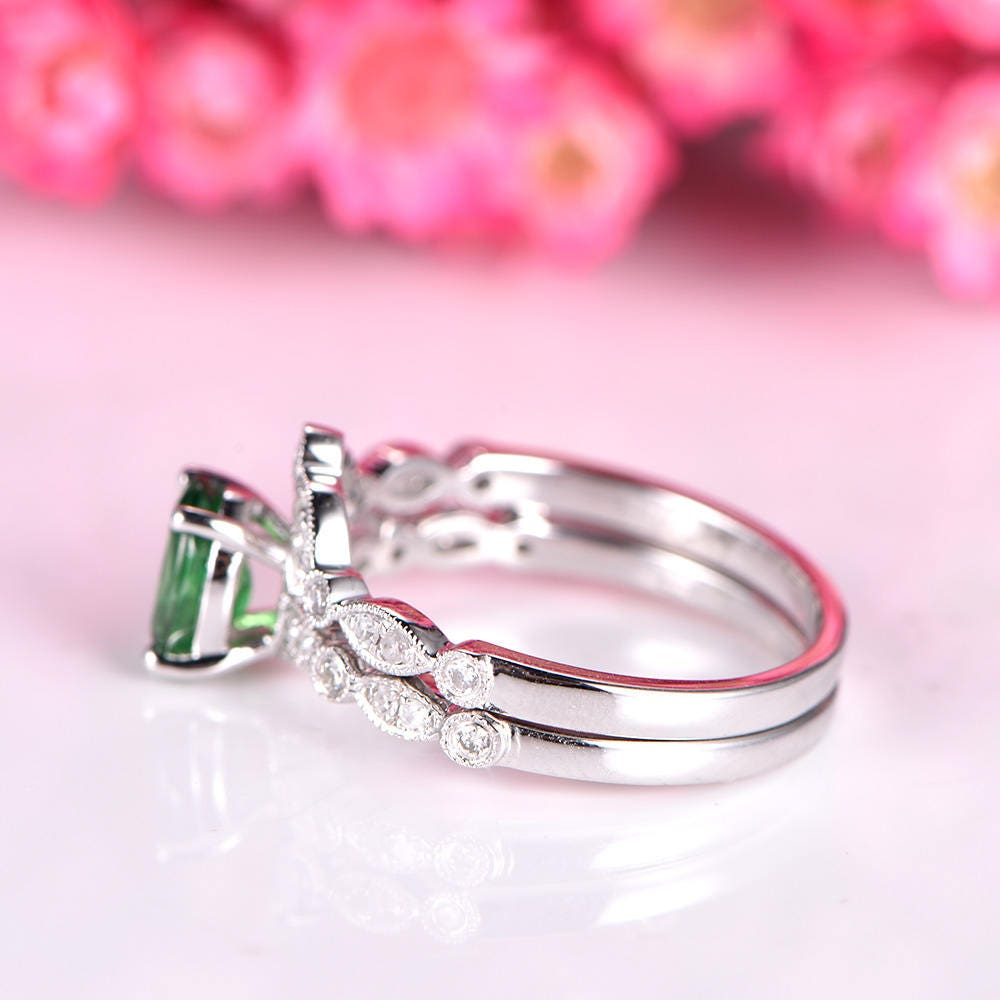 Tsavorite Ring set tsavorite engagement ring half eternity v shape ...