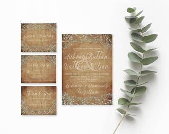 Rustic Wedding Invitation Template Download- Printable Wedding- Printable Wedding Invitation Suite- Rustic Wedding Suite- Instant Download
