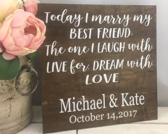 "Today I Marry My Best Friend Sign-12""x 12"" Wedding Sign-Rustic Wedding Names Sign-Country Chic Wedding Prop Sign"