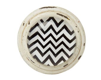 Black Chevron Contemporary Stripe Door / Drawer Knob ~ Upcycling Project