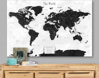 World map canvas cities travel map detailed push pin world map canvas cities travel map detailed push pin personalized map travel trailer decor world map gumiabroncs Choice Image