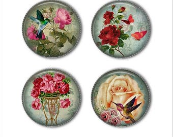 Shabby Rose magnets or pins, shabby chic magnets pins, vintage magnets pins, refrigerator magnets, fridge magnets, office magnets