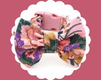 Rose Pink Floral & Bow Dog or Puppy Collar