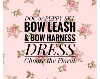 Set! Dog or Puppy Floral & Bow Harness Dress w/ Leash