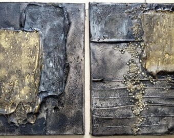 Acrylic painting canvas set 2 x 24 x 18 black gold structures trowel painting