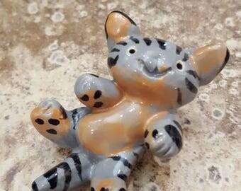 Little Guys Ceramic Gray Tummy Cat