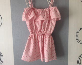 Children's dress or top waisted in shades of pink or combi-short