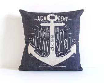 Blue Throw Pillow Cover, Anchor Pillow Cover, Nautical Throw Pillow Cover, Pillow Covers, Designer Pillow,  Decorative Pillow Cover