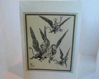 Blank Card  Greeting Card  Wizard of Oz Flying Monkeys