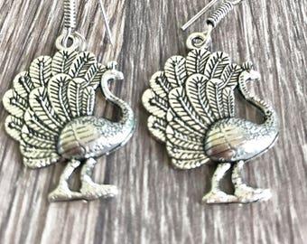 Sterling silver drop earrings, ethnic earrings, Sterling peacock earrings, tribal earrings, boho jewelry jewellery