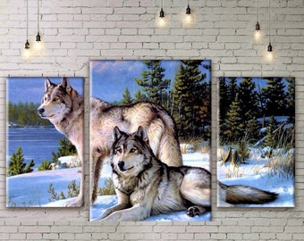 Extra Large Wall decor 4 Panel Canvas, Photo Print on Canvas, Wolves Wall Art,  Large Canvas art, Interior Art, Room Decoration, Photo gift