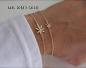 14K gold Cannabis Armband - 14K Gelbgold - Marihuana Armband - Blatt Charme-Weed - gelb gold