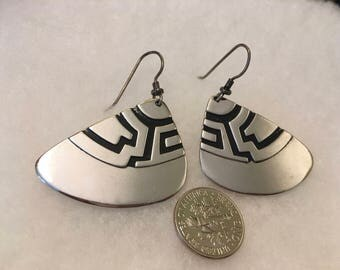 Laurel Burch Earrings Silver and Black Triangular Excellent Vintage Condition