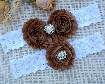 Brown Wedding Garter, White Garter Set, Brown Garter, Bridal Set, Chocolate Garter, Plus Size Garter, Brown Bridal Garter, Tossing Garter