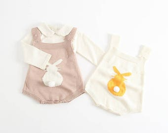 Baby Rabbit Rompers Knitted Overalls