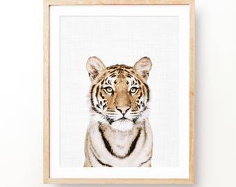 Tiger Print, Animal Print Nursery, Girl Nursery Print, Girl gift, Baby Animal Decor, Animal Prints, Instant Download, Digital Print