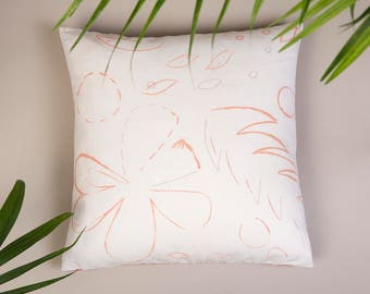 Floral Pillow Case, jungalow style, tropical pillow, floral decorative pillow, embroidery pillow, artisan textiles, botanical throw pillow