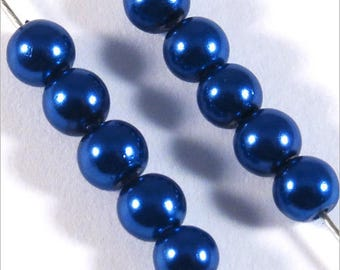 100 4mm Czech blue glass pearls