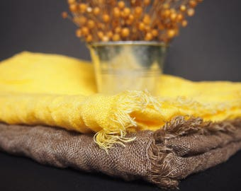 FREE SHIPPING - 2 Linen Scarves, Yellow and Brown Scaves, Linen Women Accessories, Linen Gift