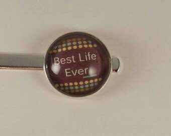 """JW Men's Tie Bar featuring """"Best Life Ever."""" Brown with dots background. Jw menswear, jw accessories, jw gifts, jw items"""