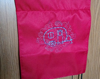 Red White nd Blue Embroidered Camper Garden Flag