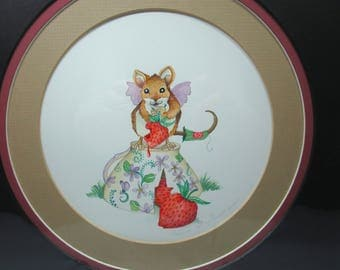 Fairy mouse, tea cup, strawberries watercolor original painting matted art