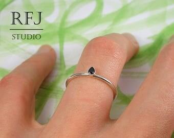 Black Lab Teardrop Diamond Silver Ring, Stackable Pear Cut 3x2 mm Black Cubic Zirconia Minimalistic Sterling Ring Stacking Black CZ Ring
