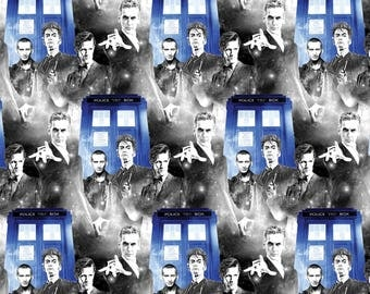 New BBC Doctor Who Fabric BBC Doctor Who Comics Characters with Phone Booth Police Public Call 100% cotton fabric ( In Stock. SC462)